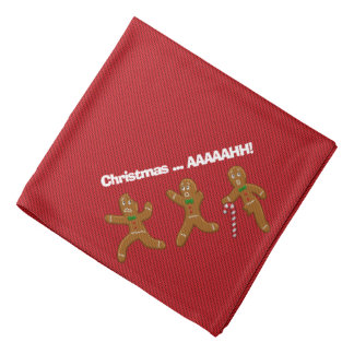 Ugly Christmas Sweater Scared Gingerbread Men Red Bandanas