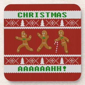 Ugly Christmas Sweater Scared Gingerbread Men Red Beverage Coasters