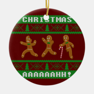 Ugly Christmas Sweater Scared Gingerbread Men Red Christmas Ornament