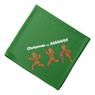 Ugly Christmas Sweater Scared Gingerbreadmen Green Bandanas