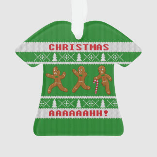 Ugly Christmas Sweater Scared Gingerbreadmen Green Ornament