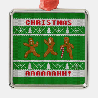 Ugly Christmas Sweater Scared Gingerbreadmen Green Silver-Colored Square Decoration