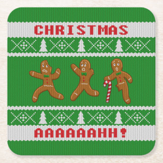 Ugly Christmas Sweater Scared Gingerbreadmen Green Square Paper Coaster