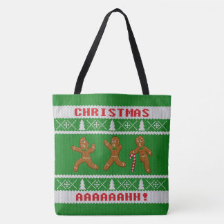 Ugly Christmas Sweater Scared Gingerbreadmen Green Tote Bag