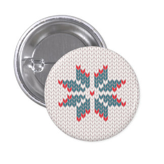 Ugly Christmas Sweater Snowflake Design Button