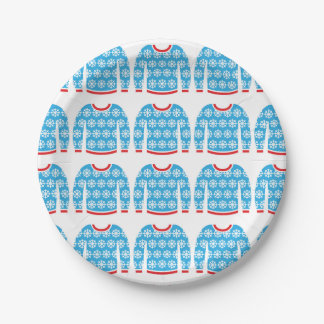 Ugly Christmas Sweater Snowflakes Party Holiday Paper Plate