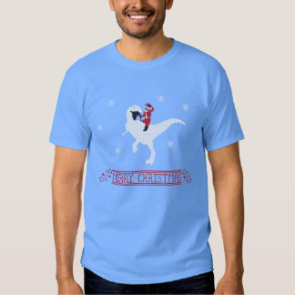 Ugly Christmas Sweater T-shirt - Santa on a T-Rex