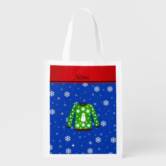 Ugly christmas sweater with green christmas backgr market tote