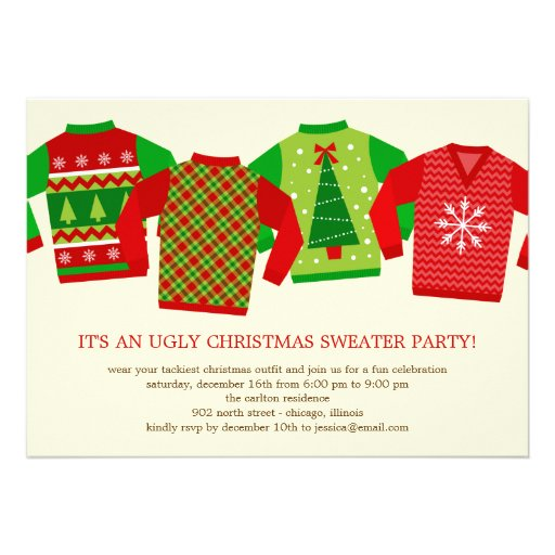 Ugly Christmas Sweaters Holiday Party Invitation Invite