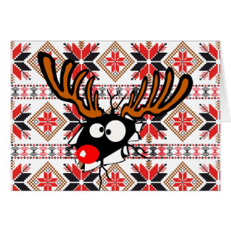 Ugly Chrstmas Sweater Card - Rudolph Reindeer