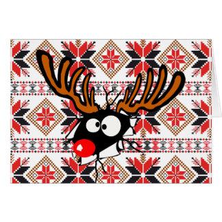 Ugly Chrstmas Sweater Card - Rudolph Reindeer