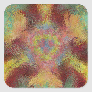ugly colorful pattern square sticker