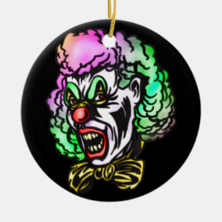 Ugly Evil Clown Double-Sided Ceramic Round Christmas Ornament