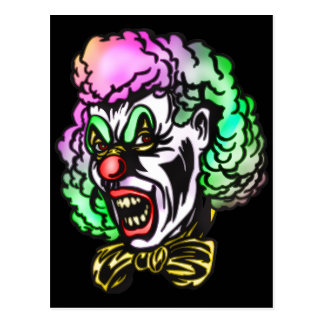 Ugly Evil Clown Postcard