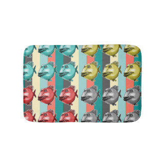 ugly fish striped background bath mat
