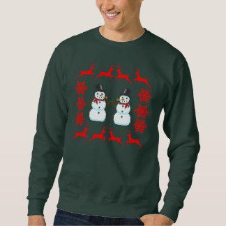 Ugly Holiday Christmas Sweater Reindeer Santa Snow