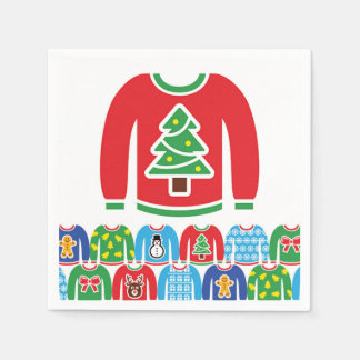 Ugly Holiday Sweater Party Xmas Christmas Tre Disposable Serviettes