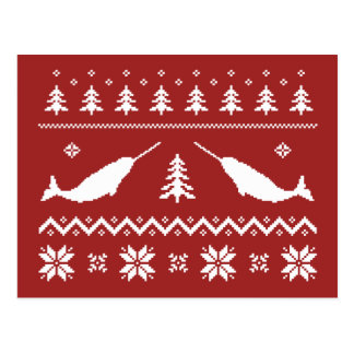 Ugly Narwhal Christmas Sweater Postcard