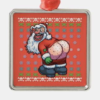 Ugly Santa Moon Christmas Ornament