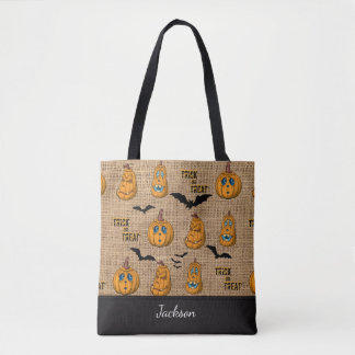 Ugly Scary Pumpkin Faces and Black Bats Textured Tote Bag