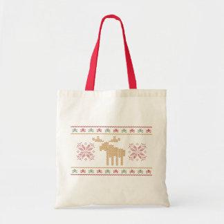 Ugly sweater christmas holiday reusable tote bag