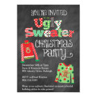 Ugly Sweater Christmas Party Chalkboard Style Card
