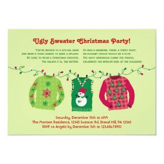 "Ugly Sweater Christmas Party Invitation 5"" X 7"" Invitation Card"