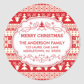 Ugly Sweater Christmas Return Address Label Seals Round Sticker