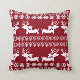 Ugly Sweater Fair Isle Reindeer Dachshund Pillow