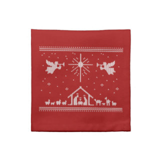 Ugly Sweater Happy Birthday Jesus Religious - Red Napkin