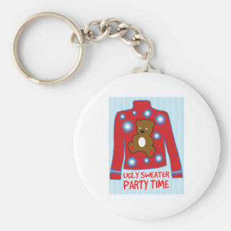 Ugly Sweater Party Basic Round Button Key Ring