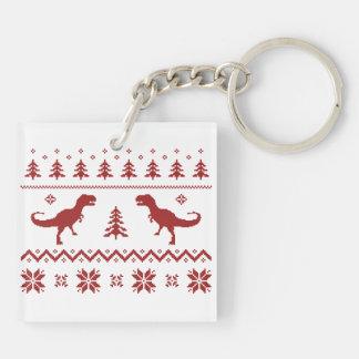 Ugly T-Rex Dinosaur Christmas Sweater Key Chain