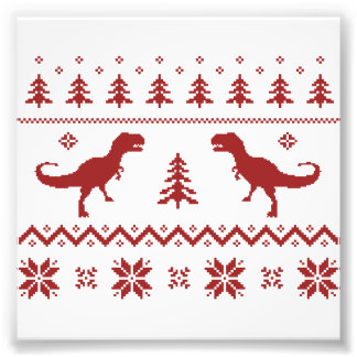 Ugly T-Rex Dinosaur Christmas Sweater Photo Print