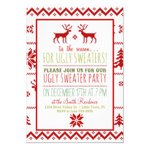 Tacky Sweater Christmas Party Invitations Zazzle Uk