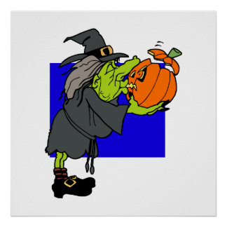 Ugly witch kissing scared pumpkin poster