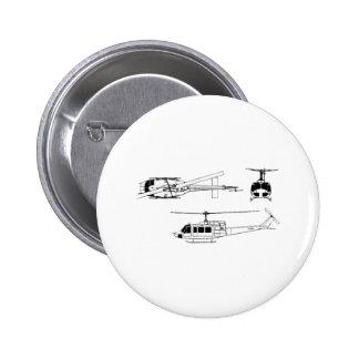 UH1 Huey Blueprint (Iriquois) 6 Cm Round Badge