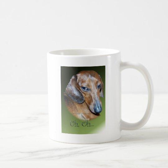 Uh Oh Dauchsund Green Background Coffee Mug
