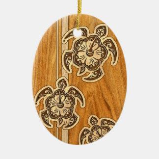 Uhane Honu Faux Wood Hawaiian Turtles Christmas Ornament