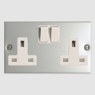 UK AC BS 1363 Plug Socket [British Standard] Rectangular Sticker