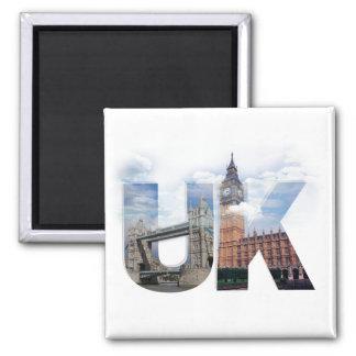 UK Alphabet Montage Square Magnet