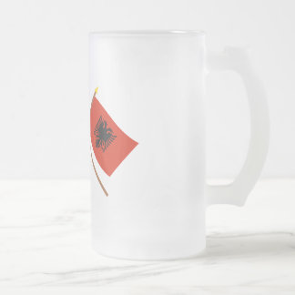 UK and Albania Crossed Flags Frosted Glass Beer Mug
