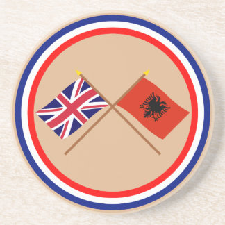 UK and Albania Crossed Flags Sandstone Coaster