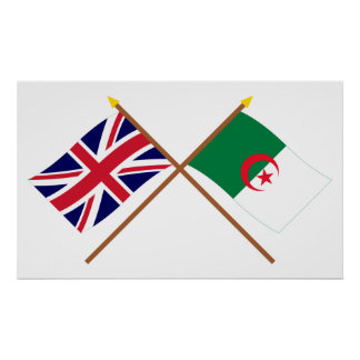 UK and Algeria Crossed Flags Poster