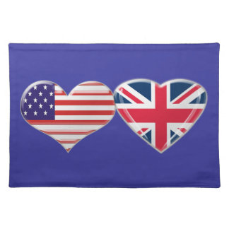 UK and American Hearts Flag MoJo Placemats