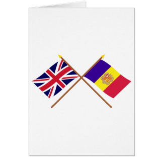 UK and Andorra Crossed Flags Cards