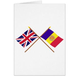 UK and Andorra Crossed Flags Greeting Card