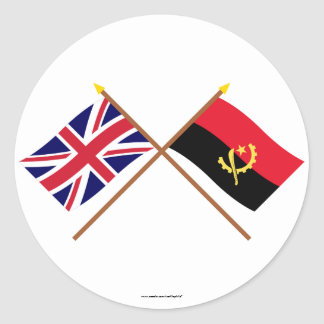 UK and Angola Crossed Flags Classic Round Sticker