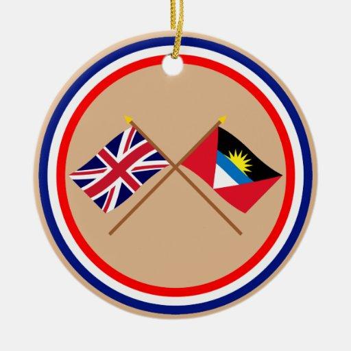 UK and Antigua & Barbuda Crossed Flags Christmas Tree Ornaments