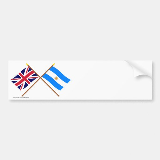 UK and Argentina Crossed Flags Bumper Stickers