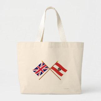 UK and Austria Crossed Flags Jumbo Tote Bag